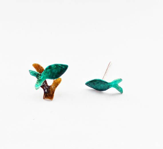 Mix And Match Tiny Fish Earrings With Enamel Funny Studs For