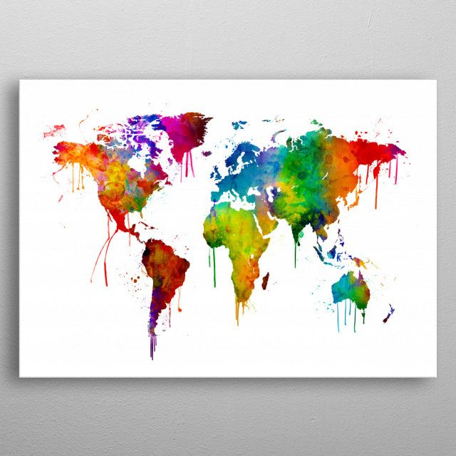 World Map Watercolour Maps Poster Print Metal Posters World