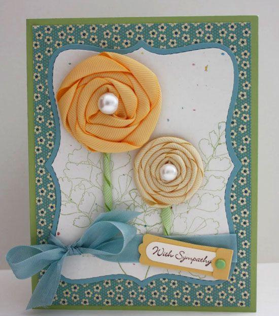 На открытках цветы из ткани своими руками