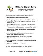 100 Walt Disney World ultimate trivia questions