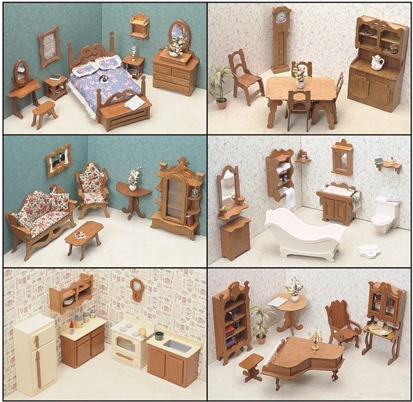 Details about Dollhouse Furniture Set Doll House Kit Lot Wood Miniature  Accessories Wooden DIY