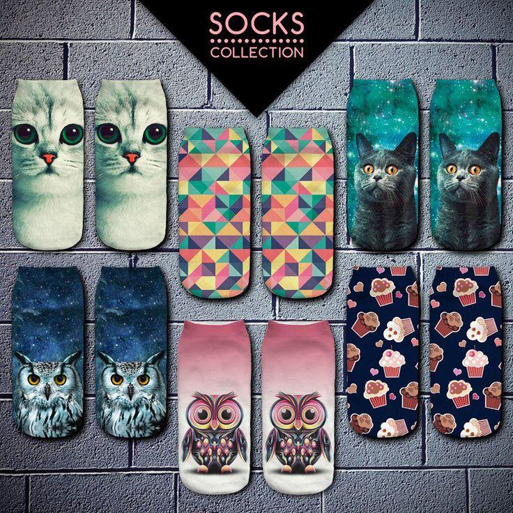 2016 New Meias Summer Autumn Harajuku Owl Socks 3D Print Animal  Women's  Low Cut Ankle Socks Cat Printed Socks
