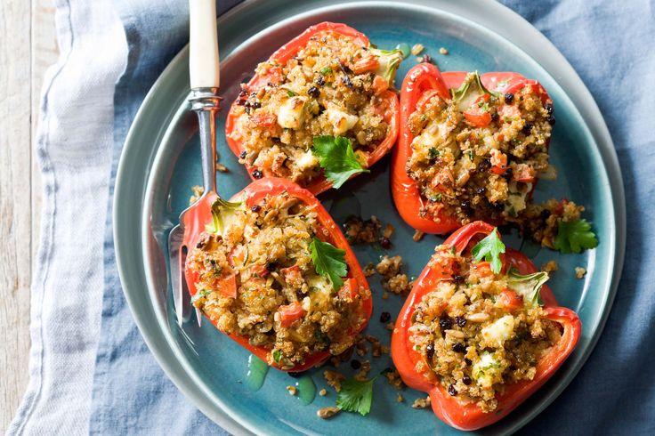 These colourful peppers are stuffed with vegetables, seeds and grains.