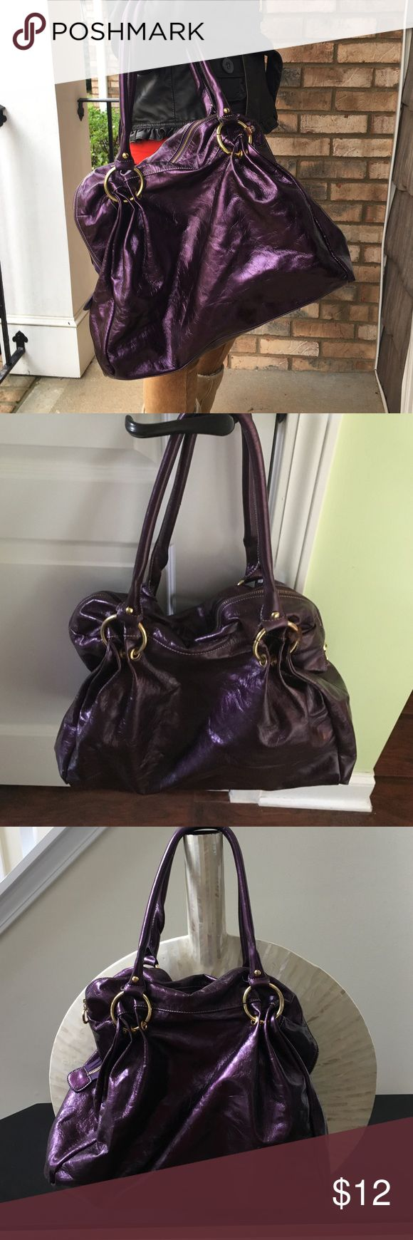 Purple shoulder bag Dark purple shiny faux leather bag in used condition. Some scuffing but still lots of life left. So many compartments inside too! Thanks for looking.💕 Bags Shoulder Bags
