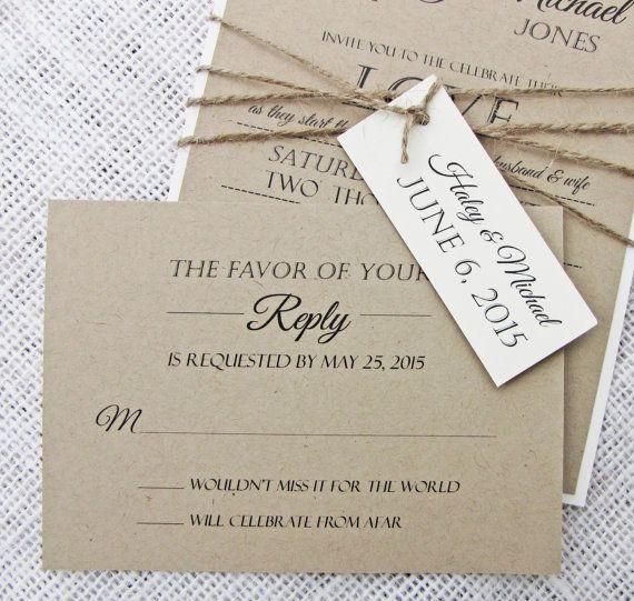 Rustic Wedding Invitation Modern Shabby Chic by LoveofCreating