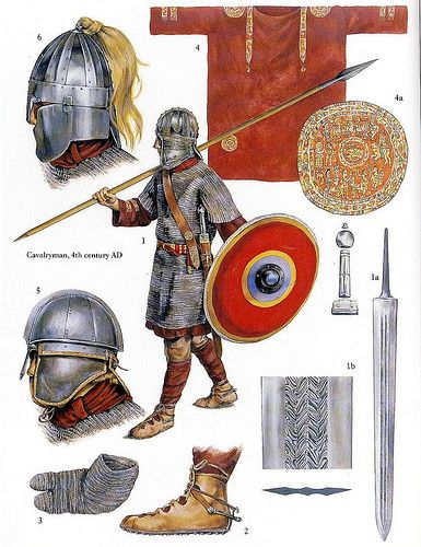 illustration of Christa Hook showing a roman army warrior of the 4th century AD