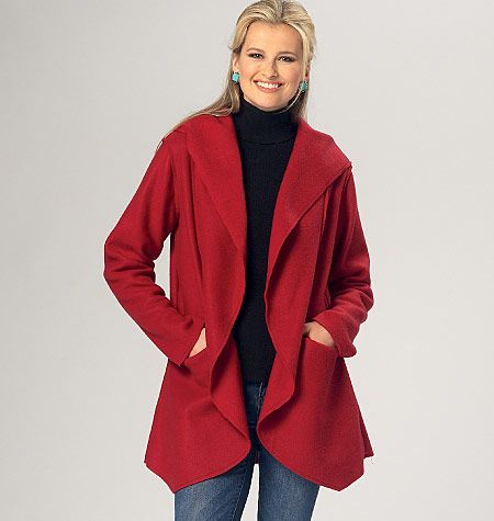 Unlined jacket with optional hood is designed for knit fabrics. New sewing pattern from Kwik Sew. K4141, Misses' Jackets