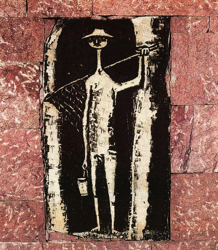 Fisherman. Lithography using sandstone by Vaso Katraki