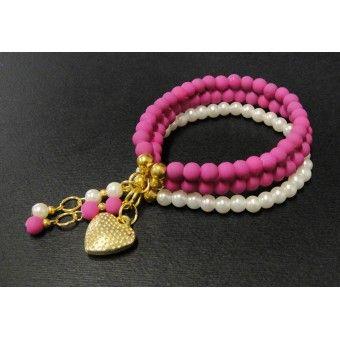pulsera de moda con bola de caucho y perla
