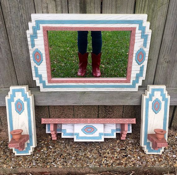 Southwestern Mirror and Sconce Set by wonderhillthrifts on Etsy