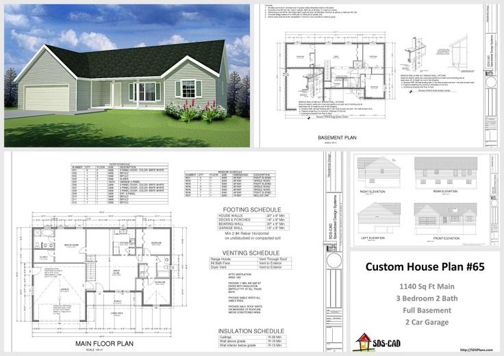 1140 sq ft 3 bedroom 2 bath full basement 2 car garage for How to design a house