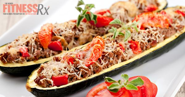 Meatball Parm Stuffed Zucchini - Low carb and only 200 calories!