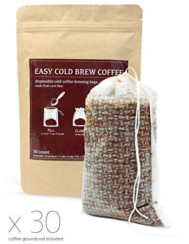 Cold Brew Coffee Maker Filters - Easy to Use Disposable Single Use Fine Mesh / No Mess Brewing Bags for Iced Coffee Cold Press French Press Tea in any Pitcher or Mason Jar (30 Count)