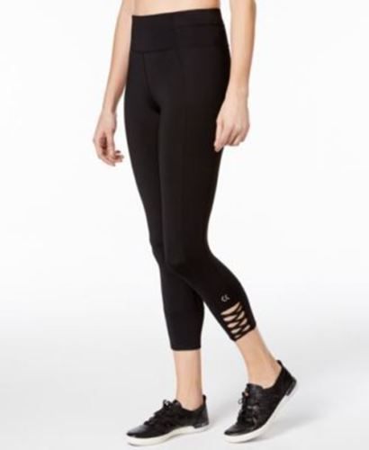 50cb98b09694fa Calvin Klein Lattice-Detail Cropped Yoga Le Black S #fashion #clothing  #shoes #accessories #womensclothing #activewear (ebay link)