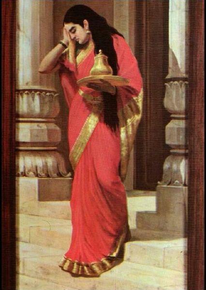 of Raja Ravi Varma's painting of Draupaudi Carrying Milk & Honey