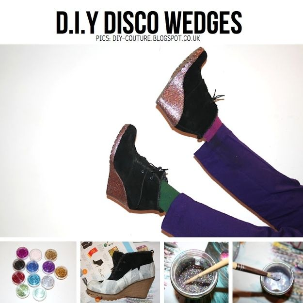 Turn your wedge boots into DISCO wedge boots. | 23 Ways To Glam Up Your Little Black Dress