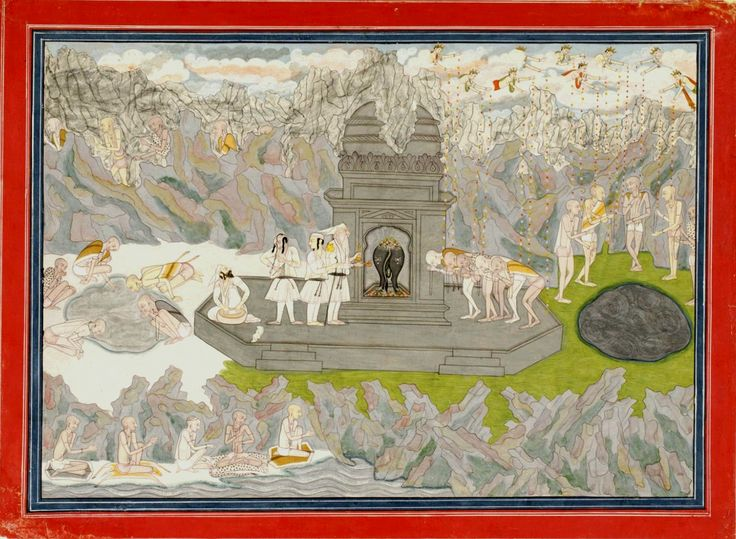 The Five Sages Reach Shiva's Temple on Kedarnath. Page from a dispersed series of the Kedara Kalpa. Made in Kangra, Himachal Pradesh, c.1800-25. Conclusion of the pilgrimage of the five sages. The now-emaciated sages appear five times: trudging through the mountains (above left), by a river bank (below), drinking at an icy pool (left), worshiping at a temple (center), and standing around a hot spring (right), all representing the final stages of a real pilgrimage to Kedarnath. .
