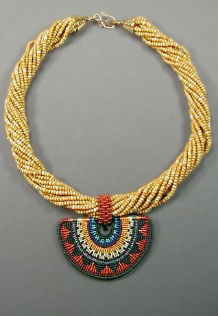 """""""Demi-Soleil Necklace"""" by Joan Babcock/ Micro-Macrame"""