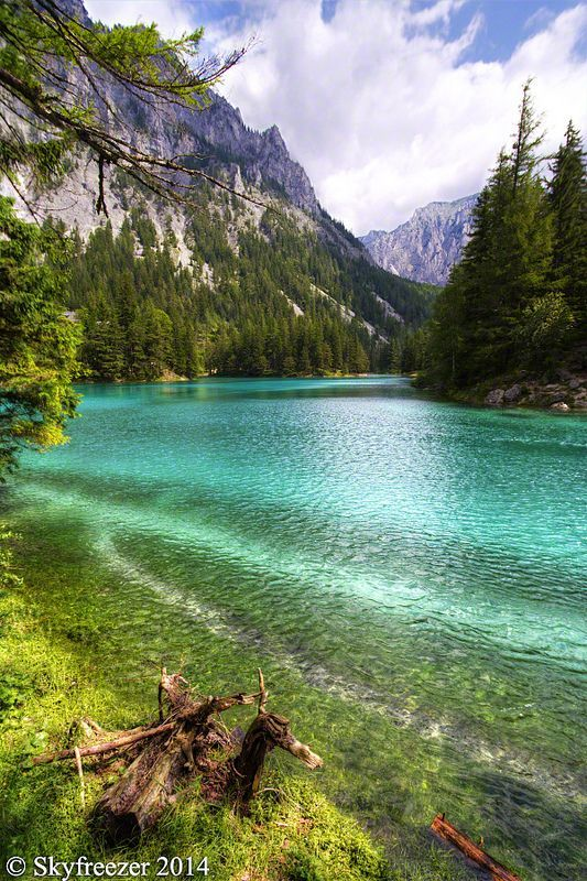 The Green Lake in Styria, Austria with it's emerald green and crystal clear water.  This lake was recently voted to the most beautiful place inside Austria.  Grüner See, Tragöß, Austria
