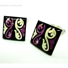 Purple Mother of Pearl Swirls Square Cufflinks - Square cufflinks with beautifully crafted dyed mother of pearl inserts.
