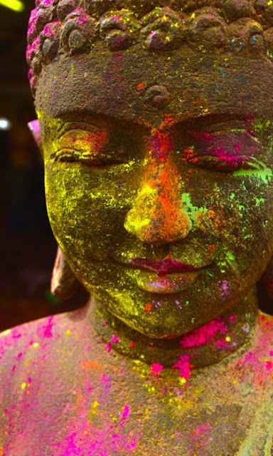 Colorful Buddha during Holi - The Festival-of-Colors, India