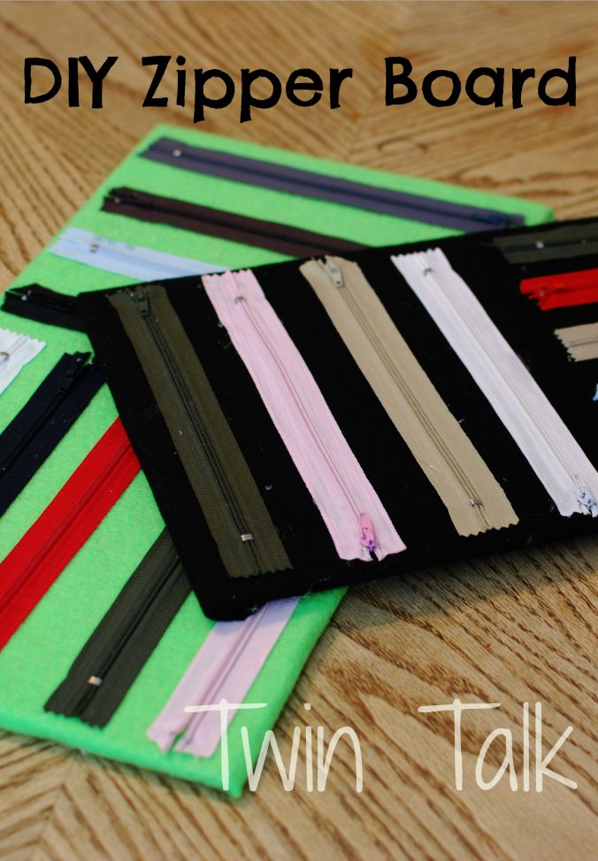 Under an hour to make and less than $5, these zippers boards are great for fine motor skills.