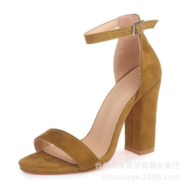 Fashion Ankle Strap Women Casual Sandals Open Toe Summer High Heel Shoes Buckle Ladies Office Work Sandalias Shoes – YELLOW 8
