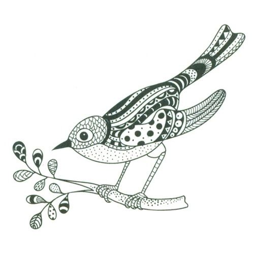 Zentangle Clear Stamp - ZENTANGLE BIRD ON BRANCH, SO