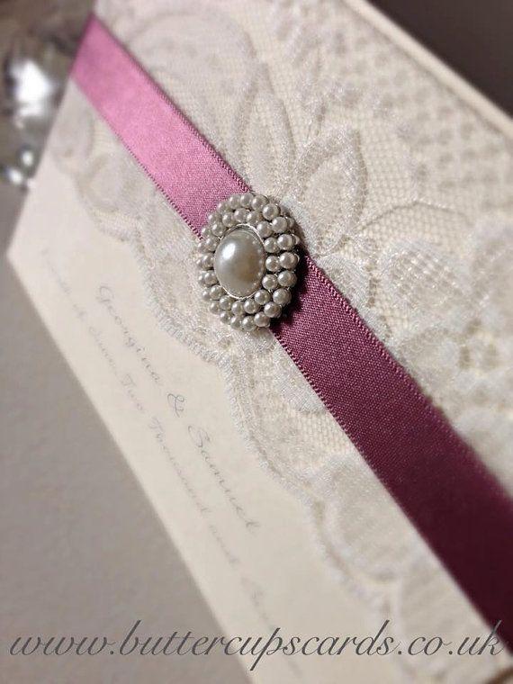 Elegant wedding invitation, pearl wedding invitation, ivory lace and pearl wedding invitation, ivory and grape wedding, classy invitation