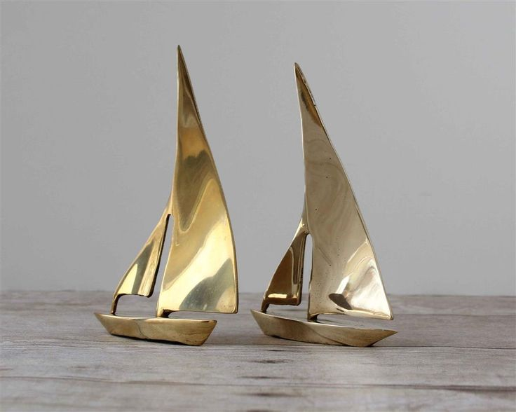 Small Nautical Wall Decor : Decorative brass sailboats small gold colored boats