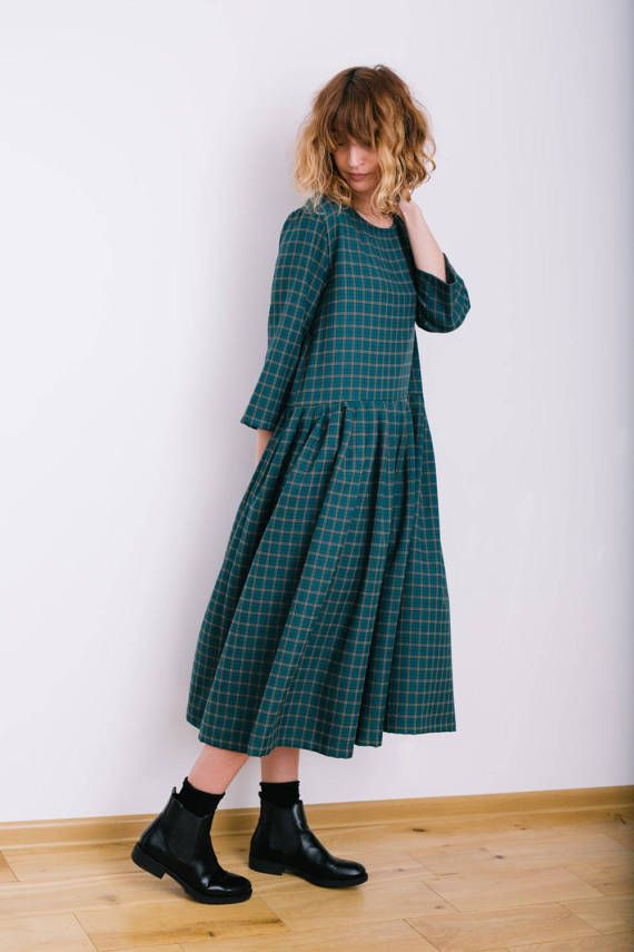 Robe Oversized à carreaux robe Oversize robe coupe ample