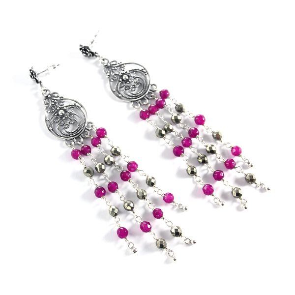 Pyrite and fuchsia jade. Absolutely stunning, orient-inspired long earrings.