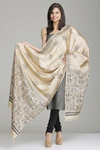 Beige Tussar-Kela Silk Dupatta With Floral Theme Tribal Hand Block Print