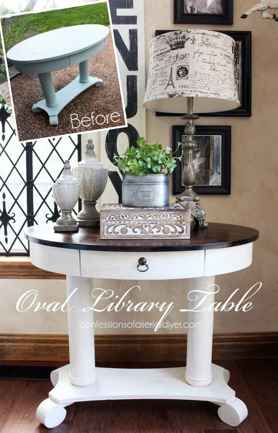 Home Library Furniture: Oval Library Table Makeover