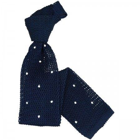 Cravata Tricotata din Matase de Como, Bleumarin cu Puncte Albe - Bocane