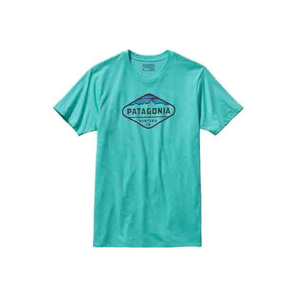 Men's Patagonia Fitz Roy Crest Cotton/Poly T-Shirt - Howling Turquoise... ($29) ❤ liked on Polyvore featuring men's fashion, men's clothing, men's shirts, men's t-shirts, mens turquoise shirt, mens patterned shirts, mens graphic t shirts, mens cotton shirts and mens long sleeve graphic t shirts