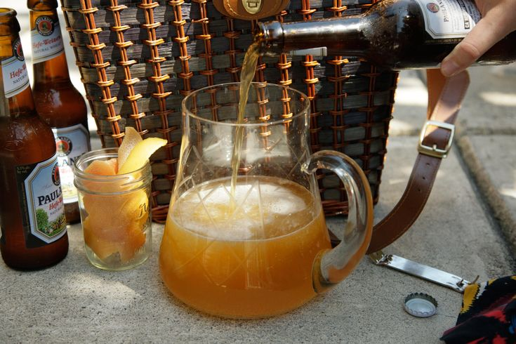 This beer cocktail recipe tops gin and elderflower liqueur with citrusy wheat beer.