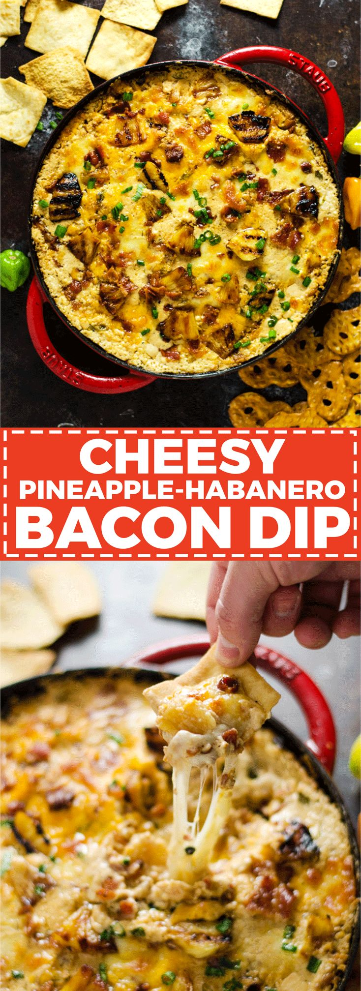 Cheesy Pineapple-Habanero Bacon Dip. This appetizer is sweet, savory, salty, tropical-tasting, and has just a bit of a kick to it. With each warm bite bursting with flavor, it will quickly become your most requested party food. | hostthetoast.com