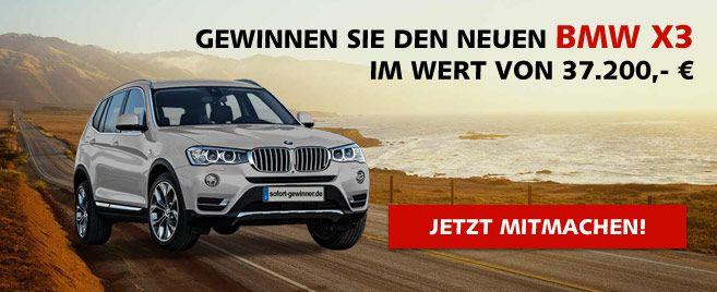 Erleben Sie die neuste Generation des Allrounders. Freuen Sie sich auf Komfort, Funktionalität und Vielseitigkeit. Gewinnen Sie den neuen BMW X3 im Wert von 37.200 €! Grenzenloser Fahrspaß!