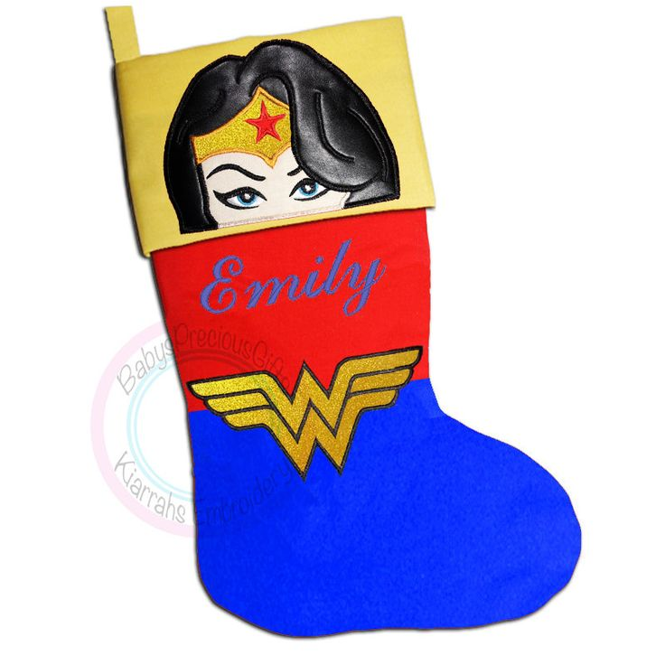 Wonder woman, Christmas Stocking, Superhero Character, Justice League, Comic superhero,  Personalised Stocking, Womans Christmas, superhero - pinned by pin4etsy.com