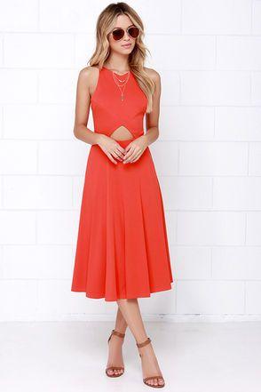 LULU*S: Drops of Jupiter Orange Midi Dress