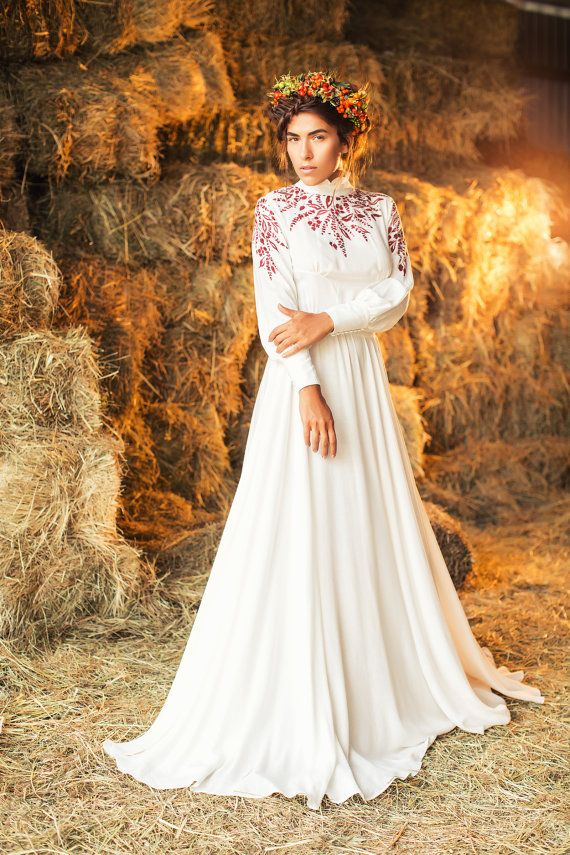 Long sleeve cotton wedding dress with handmade print by CathyTelle