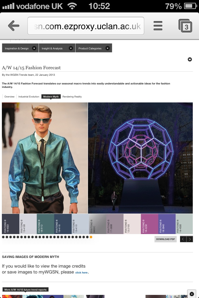 WGSN trend research - A/W '14/15, Modern Myth, colour board.
