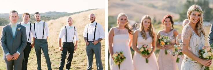 bridal party photo's rustic pastal lighting