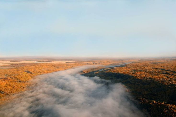 Managed to grab a photo of the Fall colours before they all disappeared. Breathtaking view of a fog covered Peace River.