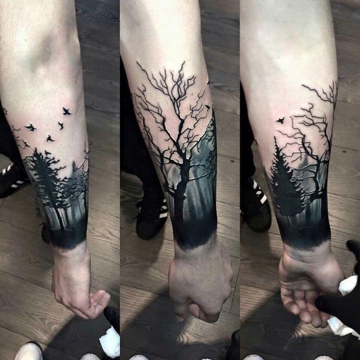 Arm tattoo, forest tattoo, tree tattoo, dark tattop, manly tattoo