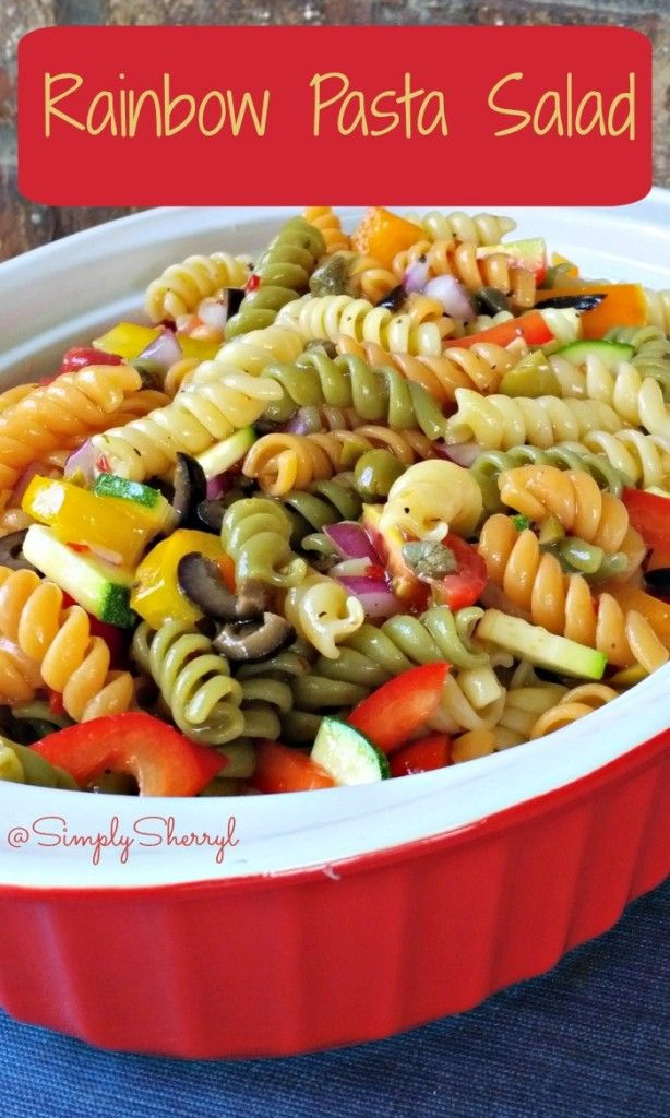 Rainbow Pasta Salad - Simple recipe and great for dinner, picnics, potlucks and more!