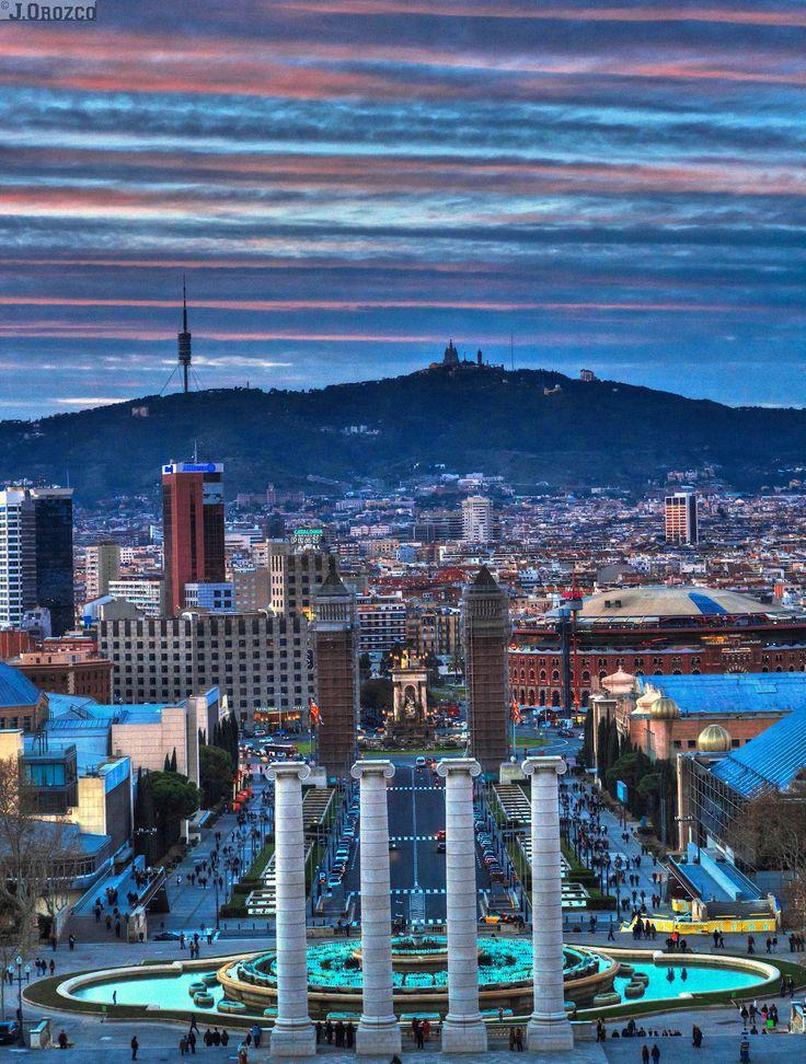 Barcelona, espectacular fotografía atardecer, desde Montjuich.