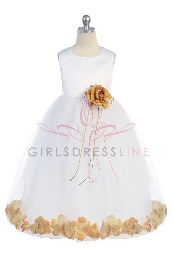 White peach sleeveless satin flower petal flower girl dress k160byp