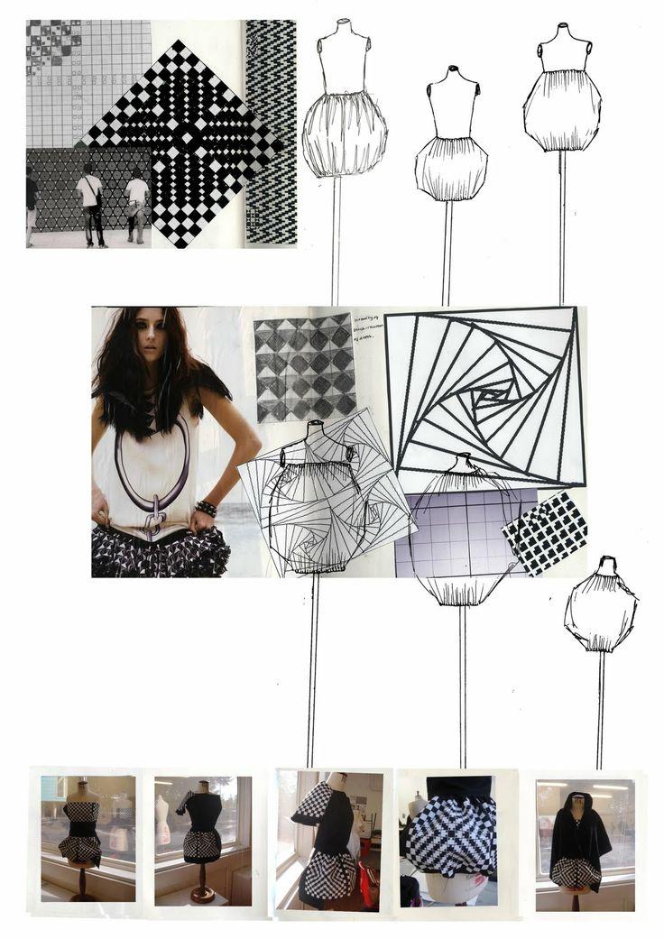 Fashion Portfolio - fashion design dress sketches, illusion print pattern development & final piece; fashion sketchbook